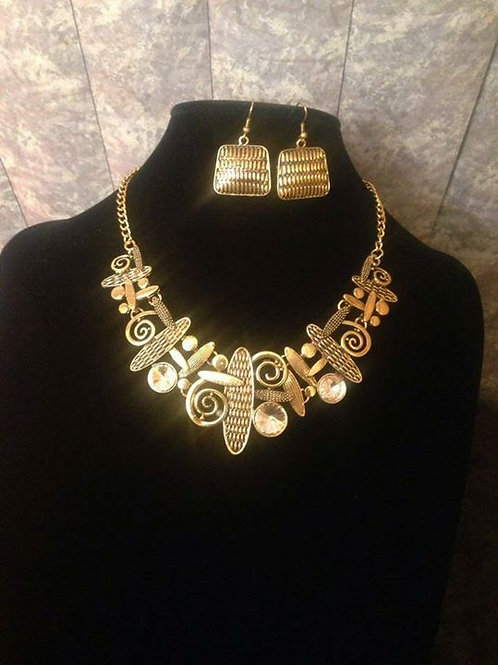 Abstract Gold Statement Necklace & Earrings set