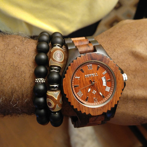 Mens Two Tone Wood Watch