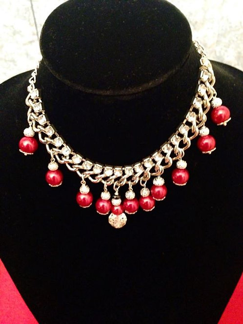 Red Pearls & Crystals Choker Necklace