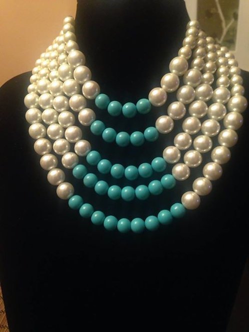 5 Strand Turquoise & Pearl Necklace