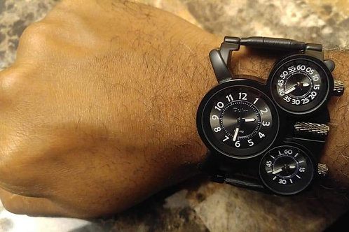 Men's Black 3 Dial Military Watch