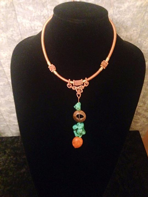 Natural Turquoise Stone & Rope Necklace