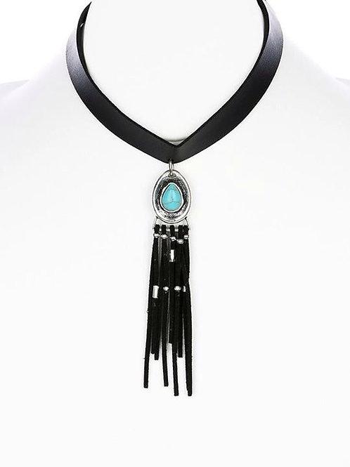 Leather & Turquoise Tassel Choker