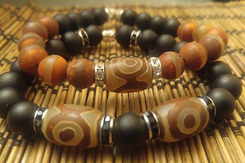 Men's Tibetan Agate & Onyx Bracelet