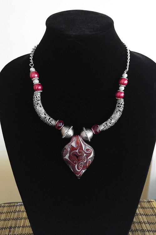 Red & Silver Statement Necklace