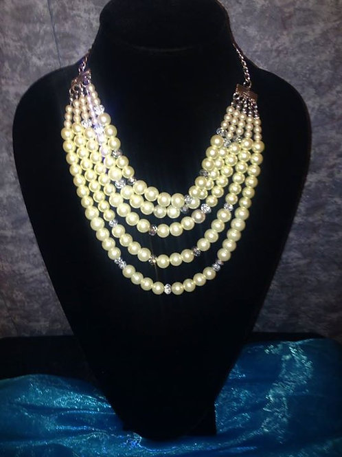 Cream 5 strand layered pearls with Crystal Beads