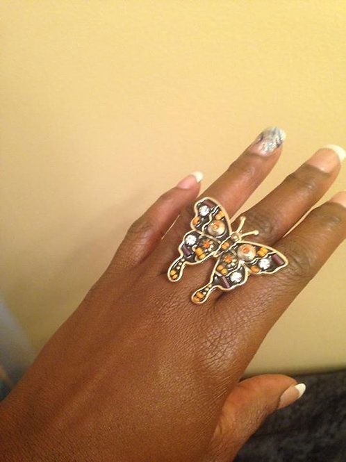 Orange and Black accent Butterfly Ring