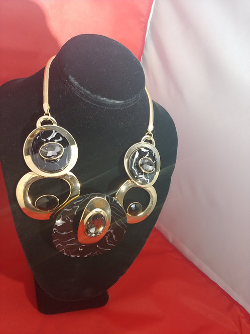 Bold Black & Gold Statement Necklace