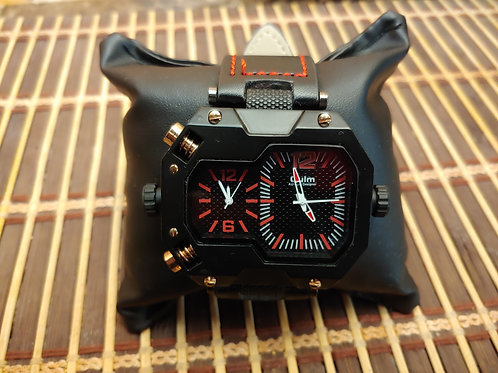 Men's Black & Red Military Watch