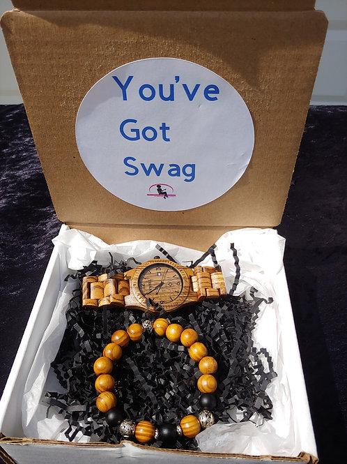 """You've Got Swag"" Wood Watch & Bracelet"