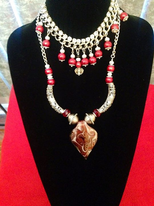 Red & Silver Boheimian Necklace