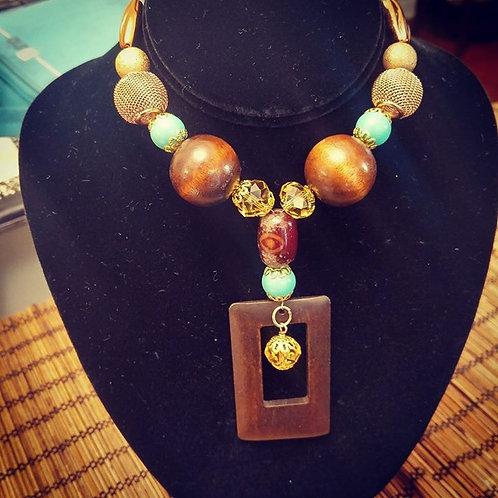 Wooden Statement  Necklace