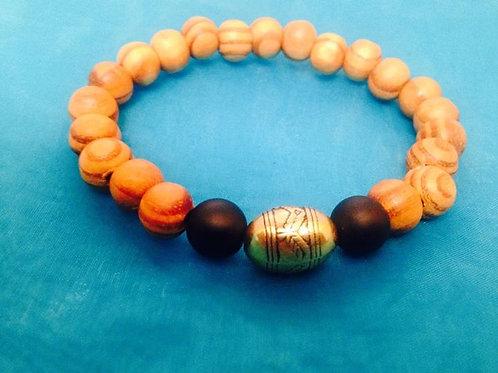 Men's Wood & Onyx Bracelet