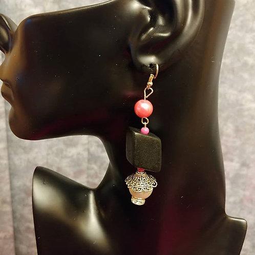 Bubble Gum Wood Earrings