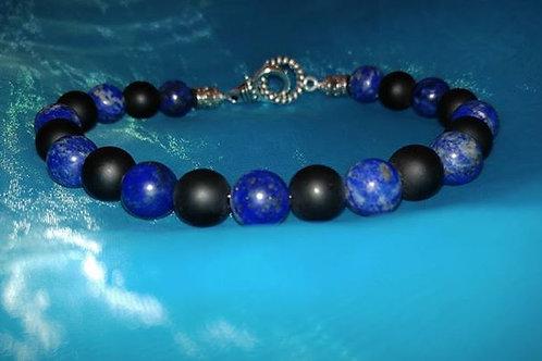 Mens Blue Lapis & Onyx Bracelet