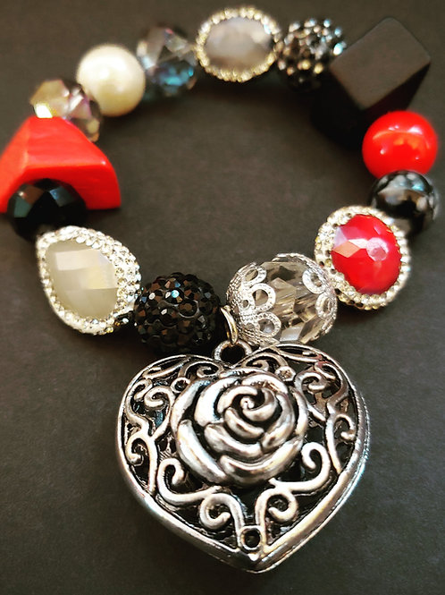 Hearts & Roses Charm Bracelet
