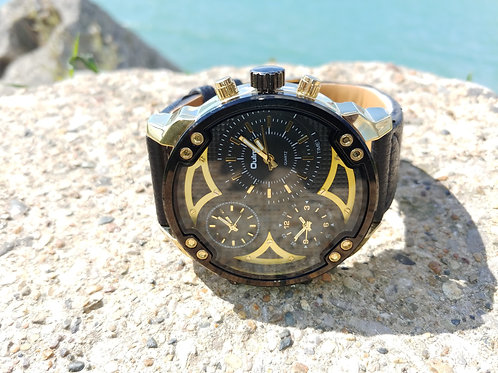 Big Face Black & Gold Sports Watch