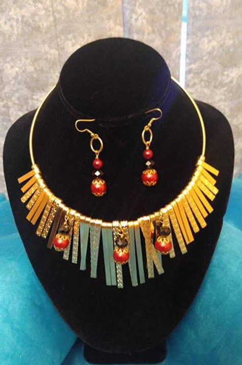 Egyptian Gold Necklace & Earring Set