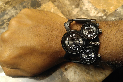 Mens Black 3 Dial Watch