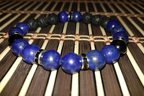 Men's Lapis & Lava Stone Bracelet