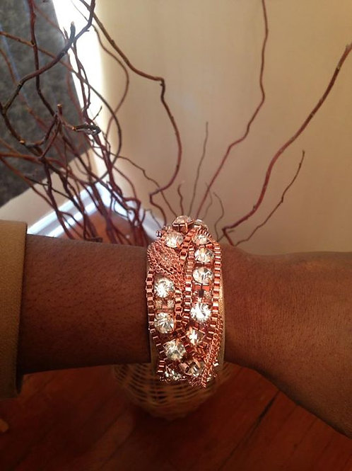 Leather Chains and Rhinestone Bracelet
