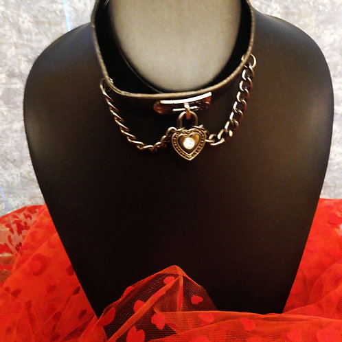 Leather & Chain Heart Choker Necklace