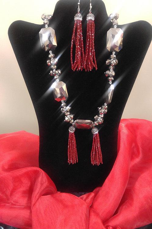 Crimson Red Necklace Set