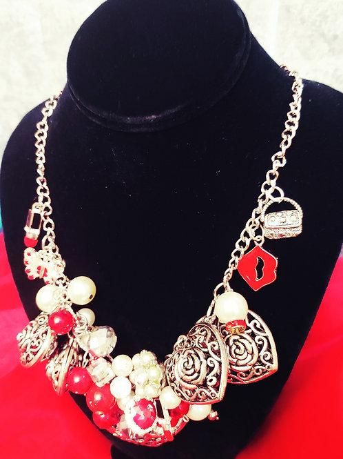Red Velvet Hearts Necklace