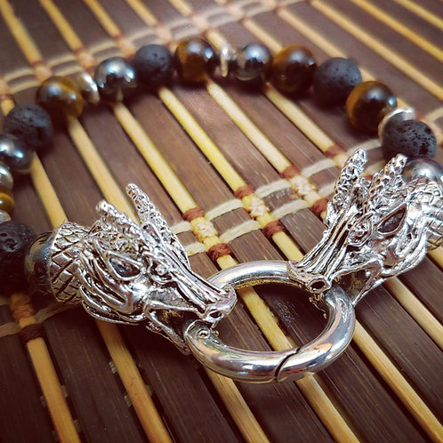 "Men's ""Fierce"" Tiger Eye & Hemitite Bracelet"