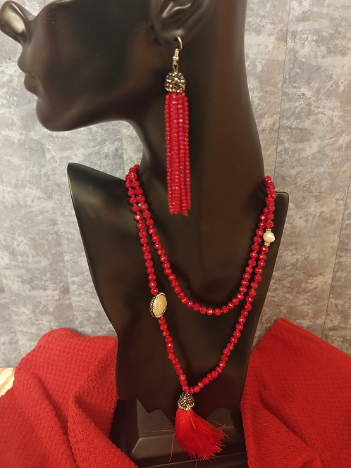 Red Beaded Necklace Set