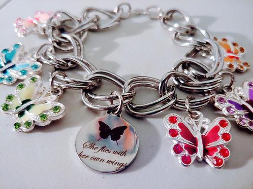 She Flys Butterfly Charm Bracelet
