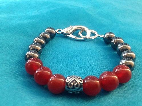 Men's Carnelian & Hematite Bracelet