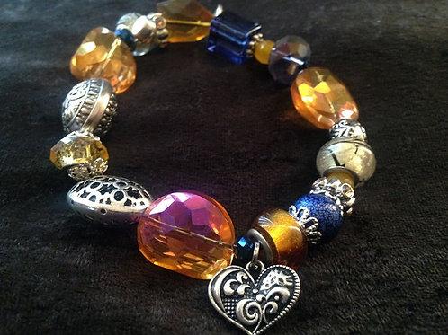 Royal Blue & Gold Heart Bracelet