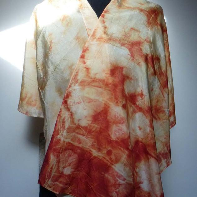 Echarpe soie rouge orangée