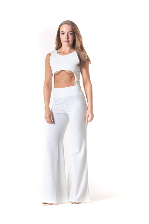 734145bc27 Show a lil  underboob girl! We are obsessing over this front cut out  jumpsuit featuring back zip fastening and a wide leg fit. Available in  sizes 6