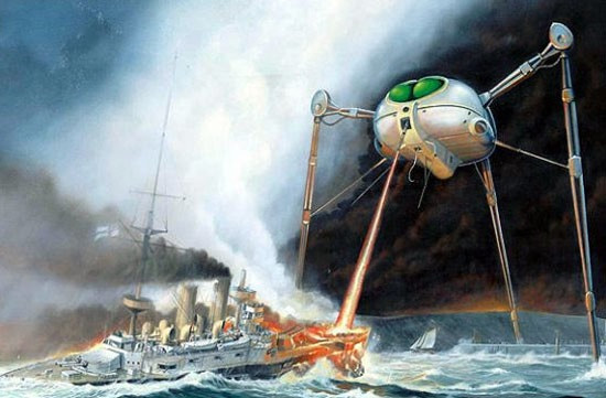 Martian fighting machine, war of the worlds illustration, H.G. Wells sci fi book review