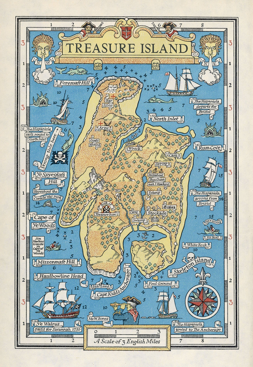 treasure island book map, skeleton island treasure island, skeleton island map