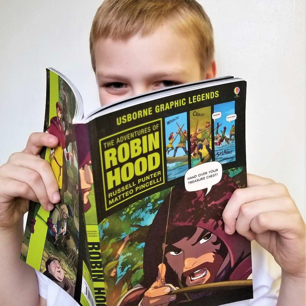 the adventures of robin hood by usborne, usborne graphic legends review, usborne books robin hood summary