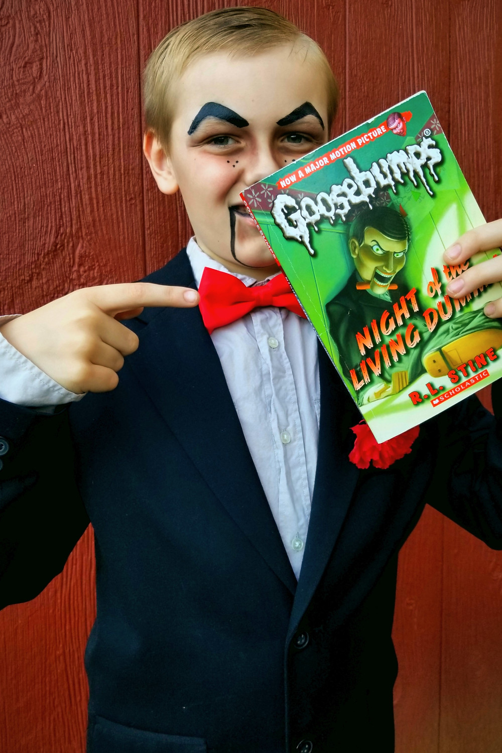 diy slappy costume from goosebumps, diy kids halloween costume, night of the living dummy