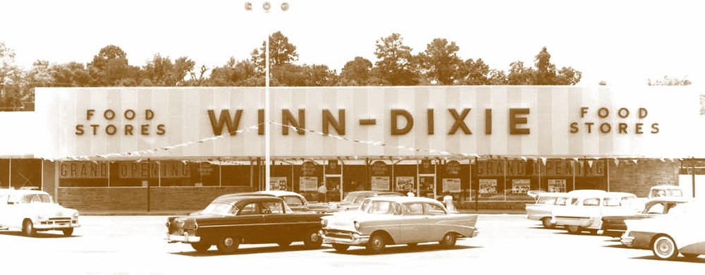 winn-dixie grocery store, vintage grocery store picture, 1950s life
