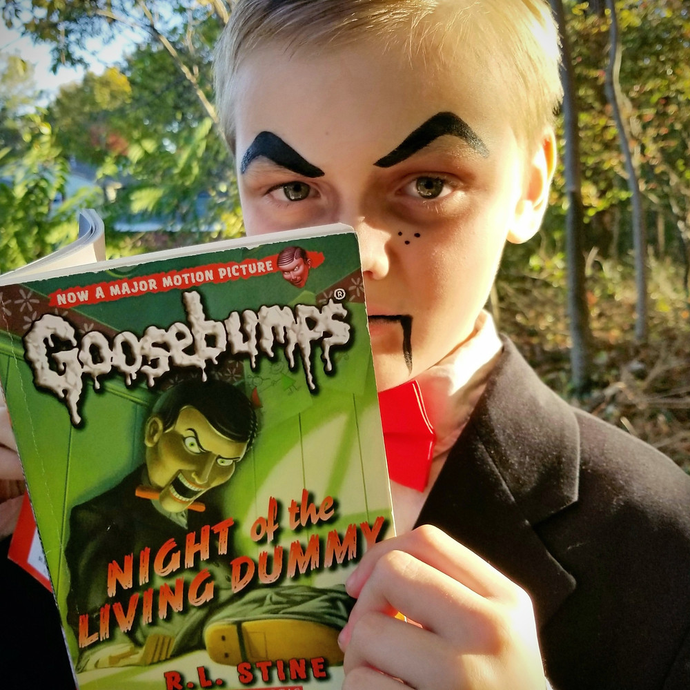 book character costume for boys, diy goosebumps costume, how to make a slappy costume