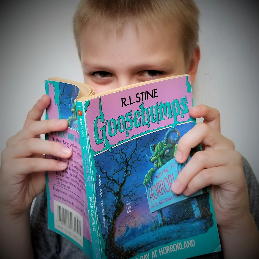 kid's october reading list, spooky elementary books, goosebumps horrorland review and summary