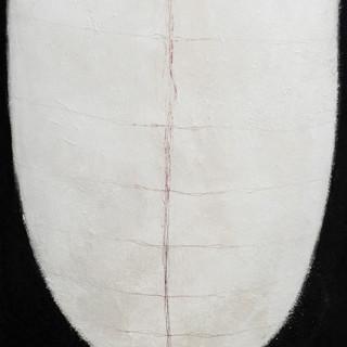 aus der serie 'übergänge' o.t., öl, pigment, verschiedene materialien auf leinwand, 155x120 cm
