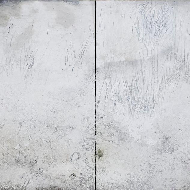 o.t., diptychon aus der serie 'übergänge', 2021, öl, pigment, verschiedene materialien auf pappelsperrholz, 92 x 360 cm
