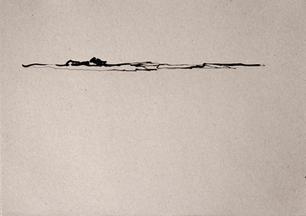 o.t., aus der serie 'hasenjagd', 2021, tusche auf grauem papier, 21 x 29,7 cm