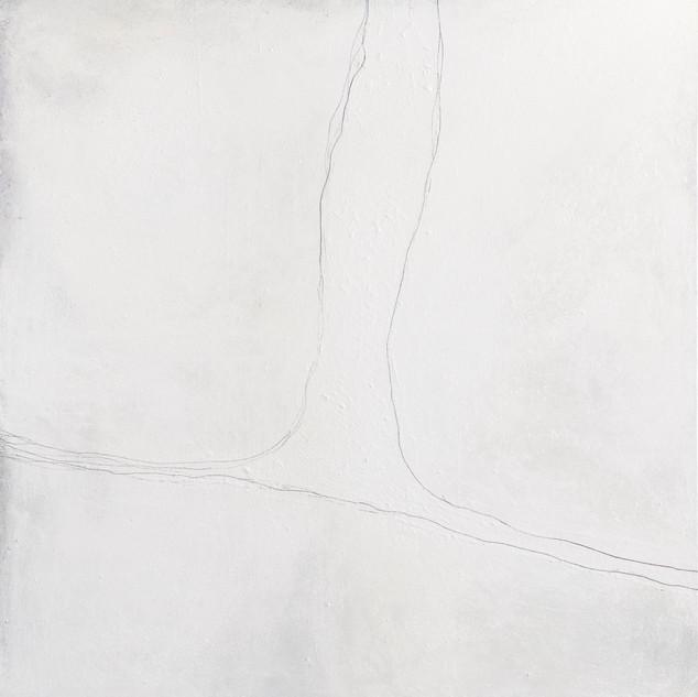 aus der serie 'übergänge' o.t., öl, pigment, verschiedene materialien auf leinwand, 150x130 cm