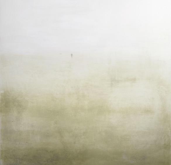 auf dem weg #1, 2021, pigment, buntstift auf leinwand, 170 x 160 cm