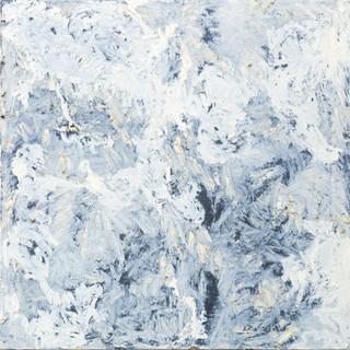 aus der serie 'übergänge' o.t., öl, pigment, verschiedene materialien auf leinwand, 80x80 cm