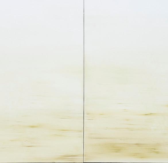 auf dem weg #3, diptychon, 2021, kasein auf leinwand, 100 x 200 cm