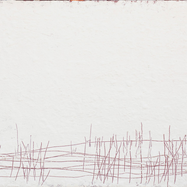 aus der serie 'übergänge' o.t., öl, pigment, verschiedene materialien auf leinwand, 49x97 cm